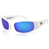 Manatee Sunglasses, White Frame, Smoked w/ Blue Mirror Polarized Lenses
