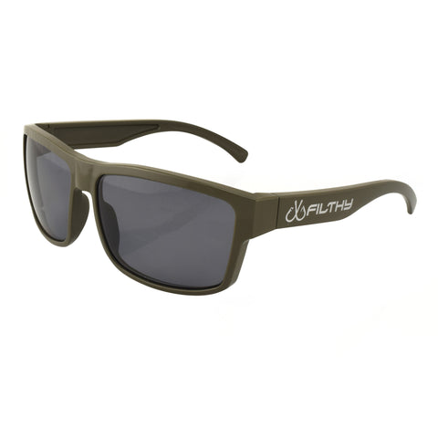 Ames Filthy Anglers Sunglass, Army Green frame, Smoked Polarized Lenses