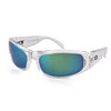 Manatee Sunglasses, Crystal Clear Frame, Smoked w/ Green Mirror Polarized Lenses