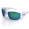 Polarized green mirror fishing sunglasses, Clear frame