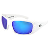 Montana Sunglasses, White Frame, Polarized Blue Mirror Lenses