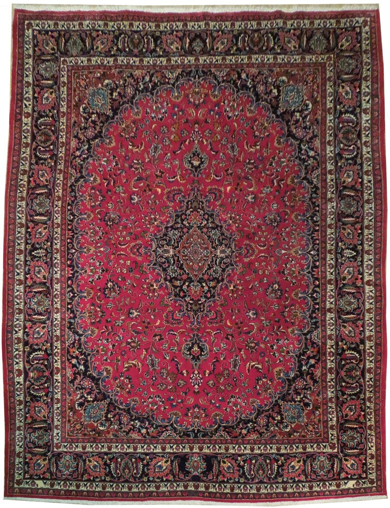 Fascinating 10x13 Authentic Hand Knotted Persian Semi-Antique Kashan Rug - Iran