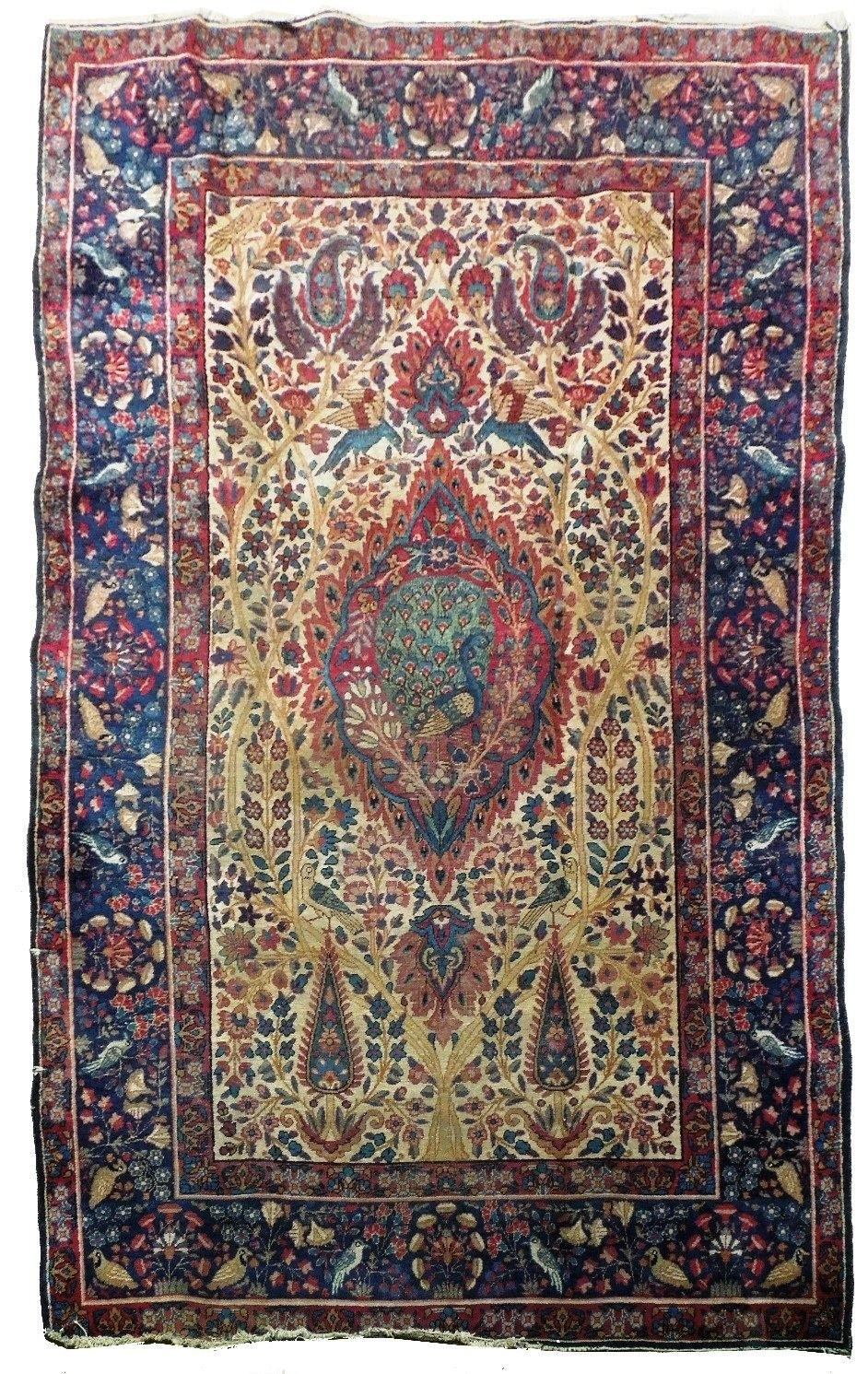 5x7 Authentic Hand-Knotted Antique Persian Sarouk Rug - Iran - bestrugplace