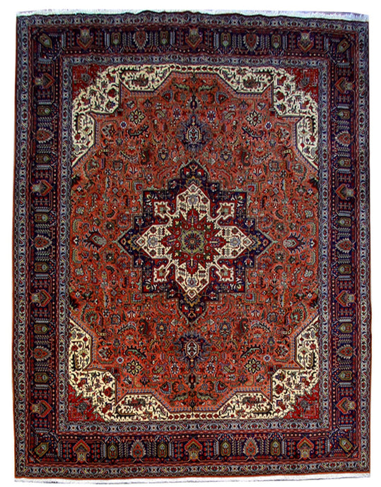 10x13 DARK BLUE ALL OVER Authentic Hand Knotted Persian Tabriz Rug - Iran 80694 - bestrugplace