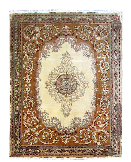 10x13 IVORY OPEN FIELD Authentic Hand Knotted Persian Tabriz Rug - Iran - bestrugplace