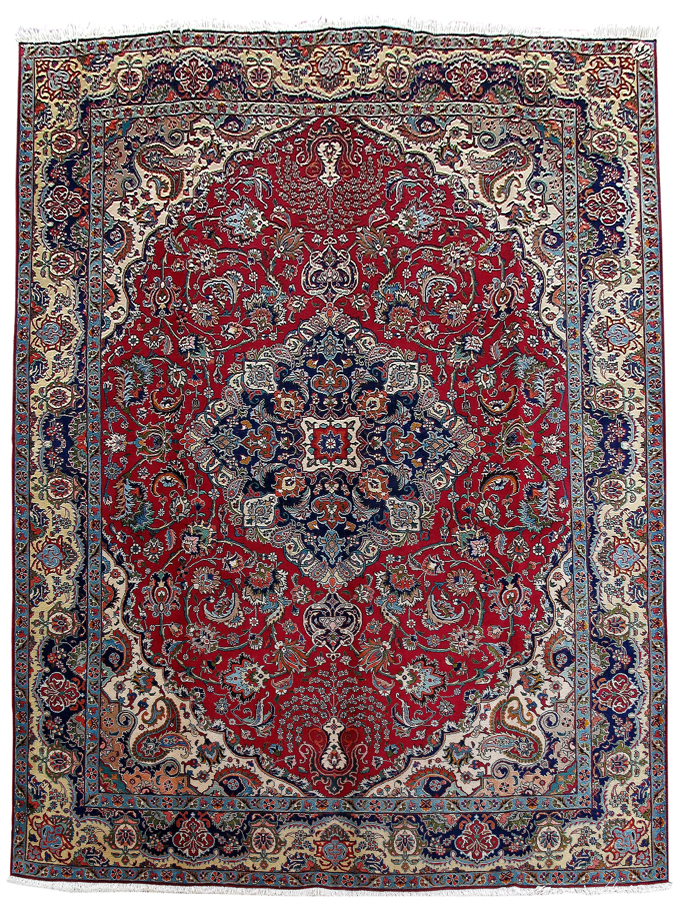 Authentic Hand-Knotted 10x13 Persian Tabriz Rug - Traditional