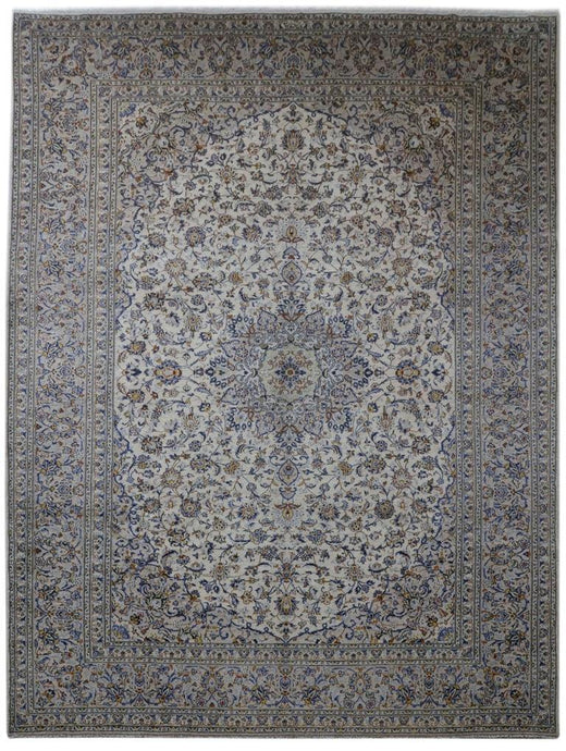 10x13 IVORY BLUE Authentic Hand-knotted Persian Kashan Rug - Iran 81232 - bestrugplace
