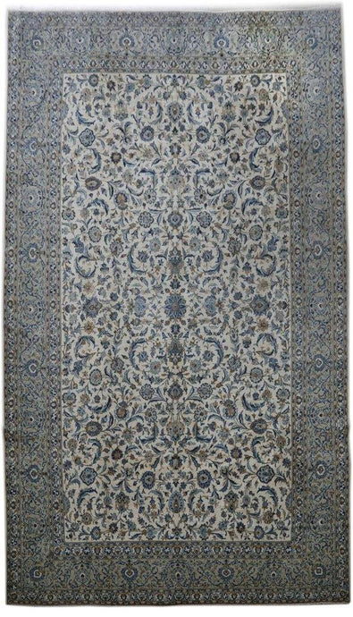 IVORY BLUE 11x18 Authentic Persian Signed Kashan Perfect quality Rug - Iran 82295 - bestrugplace