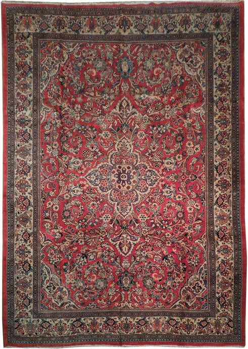 10' x 14' Authentic Handmade Traditional Sarouk Rug - Traditional - bestrugplace
