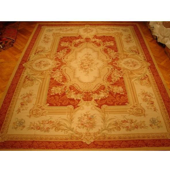 10x14 Authentic Handmade Aubusson Weave Rug-China