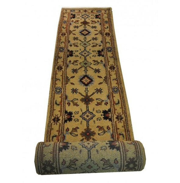 Harooni Rugs - Dazzling 3x22 Authentic Hand-Knotted Mahal Runner Rug - India
