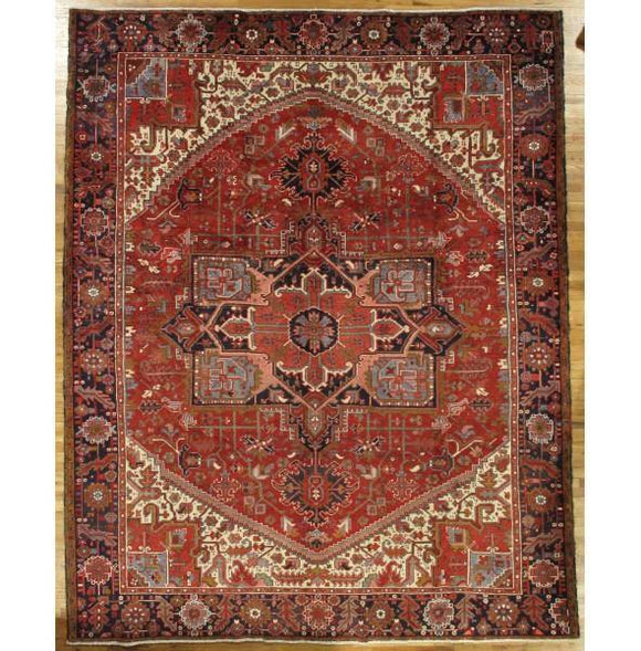 10x12 Authentic Hand-Knotted Semi-Antique Persian Heriz Rug - Iran