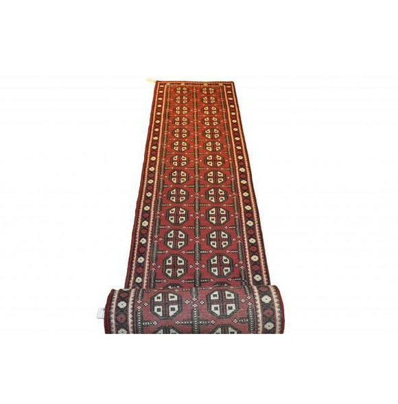 Dazzling 3x20 Authentic Hand-Knotted Mahal Bokhara Runner Rug - India