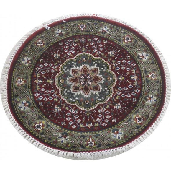 Dazzling 3x3 Authentic Hand Knotted Jammu Kashmir Silk Rug - India
