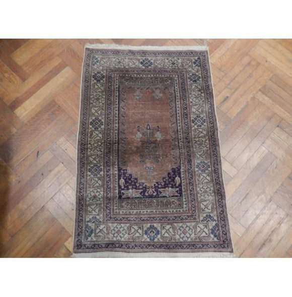 3x4 Authentic Hand Knotted Antique Persian Rug - Iran