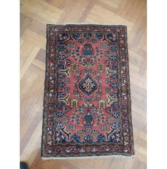 3x4 Authentic Hand Knotted Semi-Antique Persian Sarouk Rug - Iran