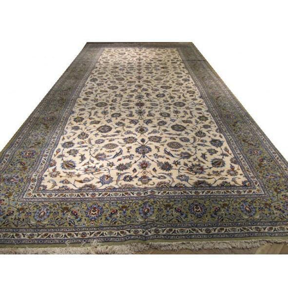 Luxurious 9x18 Authentic Handmade Persian Kashan Rug-Iran