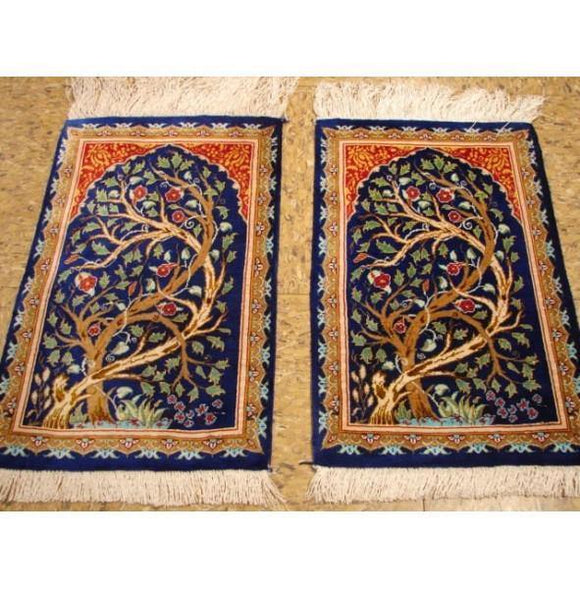 1x1 Authentic Handmade Persian Qum Silk Rug-IRAN