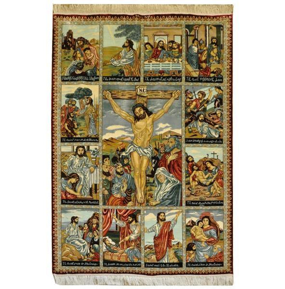 5x4 Authentic Hand Knotted Silk Pictorial Rug - China
