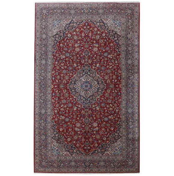 10x17 Authentic Hand-knotted Persian Signed Kashan Rug - Iran