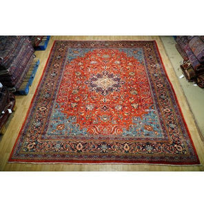 10x13 Authentic Hand Knotted Semi-Antique Persian Sarouk Rug - Iran