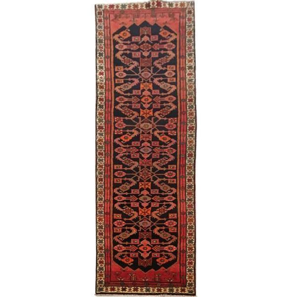 3x13 Authentic Hand-knotted Persian Hamadan Rug - Iran