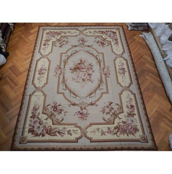 10x13 Authentic Handmade Needlepoint Flat Weave French Rug - China