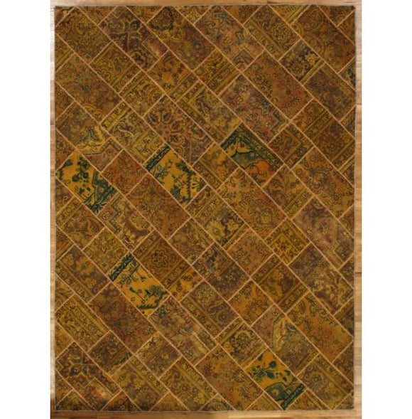 9x12 Authentic Hand-Knotted Antique Patchwork Rug - Iran