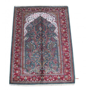 Harooni Rugs - Dazzling 3x6 Authentic Hand Knotted Jammu Kashmir Silk Rug - India