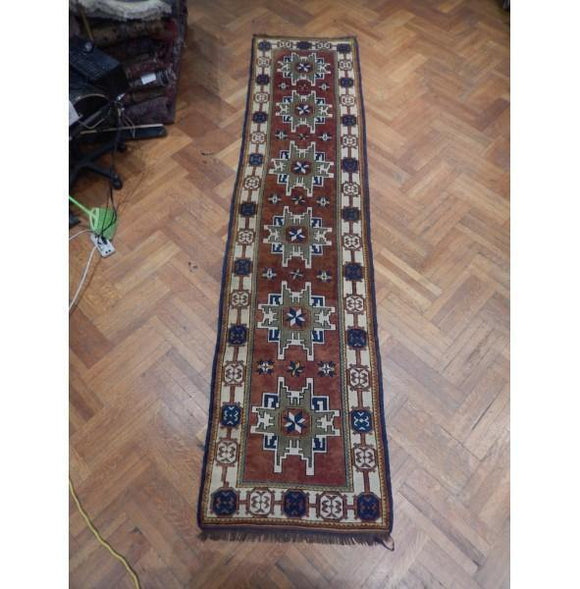 3x13 Authentic Hand Knotted Russian Kazak Runner - Russia