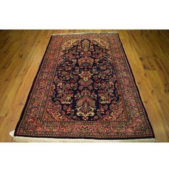 4x7 Authentic Hand Knotted Kazvin Persian Sarouk Rug - Iran