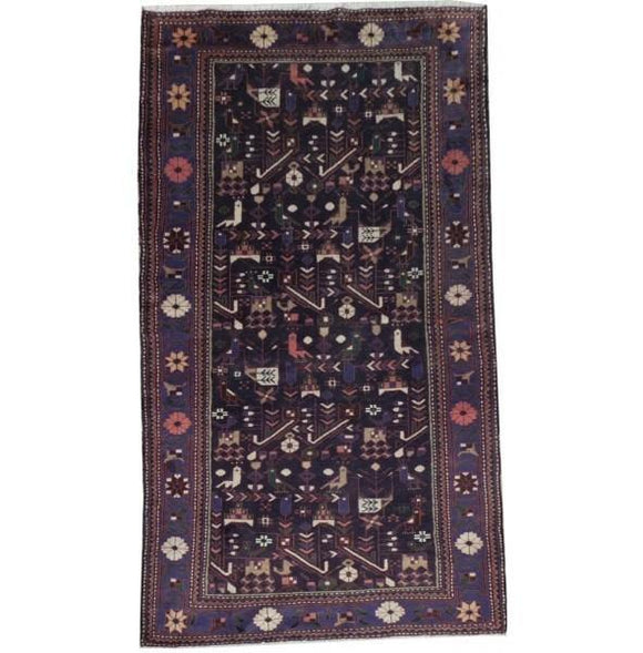 4x7 Authentic Hand Knotted Semi-Antique Afghan Kazak Rug - Afghanistan
