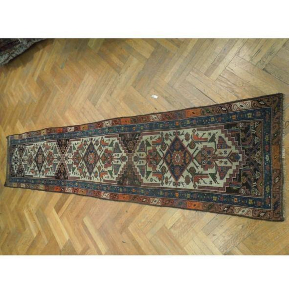 3x13 Authentic Hand Knotted Antique Persian Runner - Iran