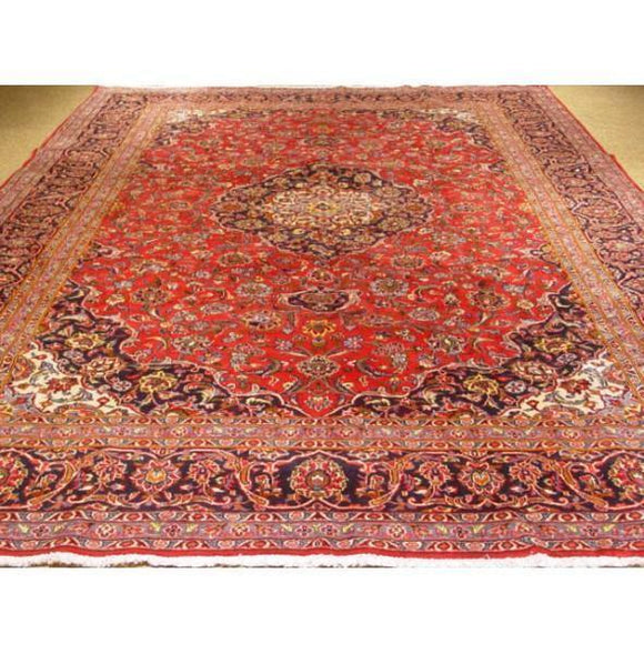10x13 Authentic Hand-knotted Classic Persian Kashan Rug - Iran