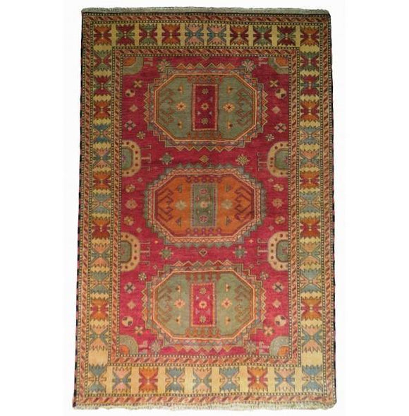 Harooni Rugs - Dazzling 6x8 Authentic Hand-Knotted Kazak Rug - India