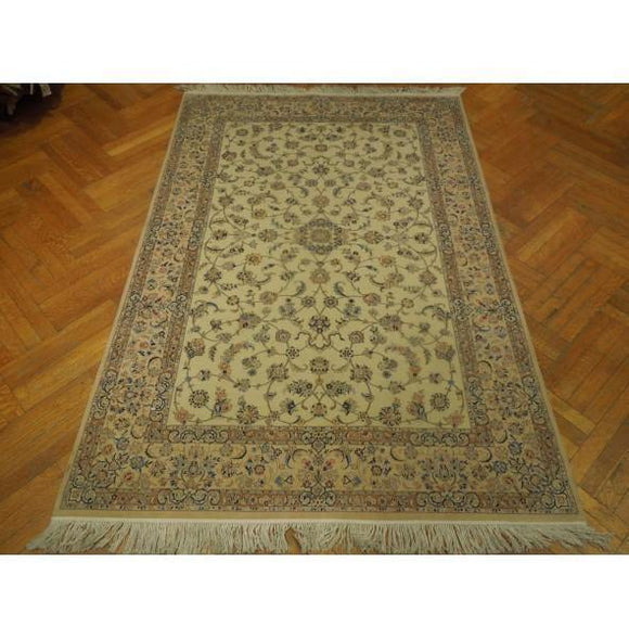 5x8 Authentic Hand Knotted High-End Wool & Silk Nain Rug - Iran