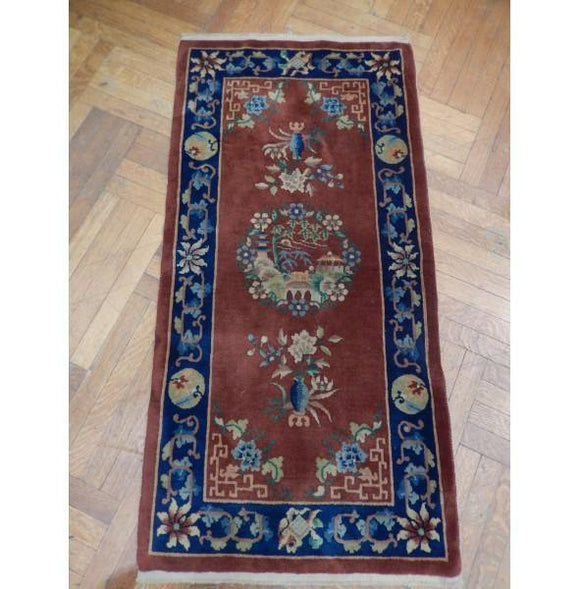 2x5 Authentic Hand Knotted Antique Chinese Art Deco Rug - China