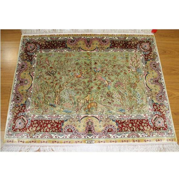 4x3 Authentic Handmade High End Sino Silk Rug - China