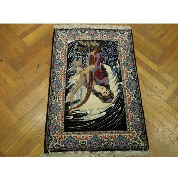 3x4 Authentic Hand Knotted High-End Wool & Silk Isfahan Rug - Iran