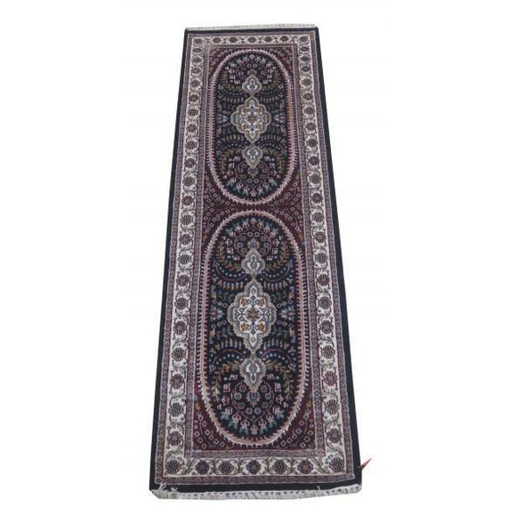 Dazzling 2x7 Authentic Hand Knotted Jammu Kashmir Silk Rug - India
