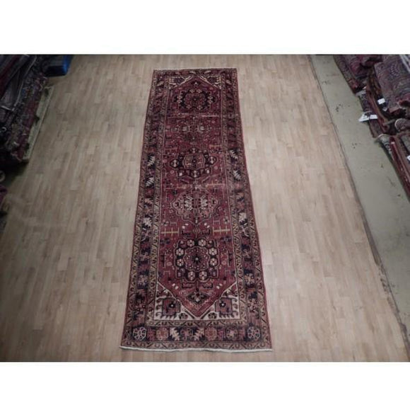 4x12 Authentic Hand Knotted Semi-Antique Persian Heriz Runner - Iran