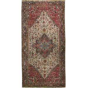 9x18 Authentic Handmade Persian Heriz Rug-Iran
