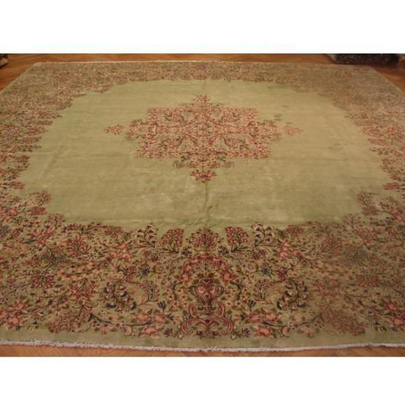 13x14 Authentic Handmade Old Persian Kerman Rug-Iran