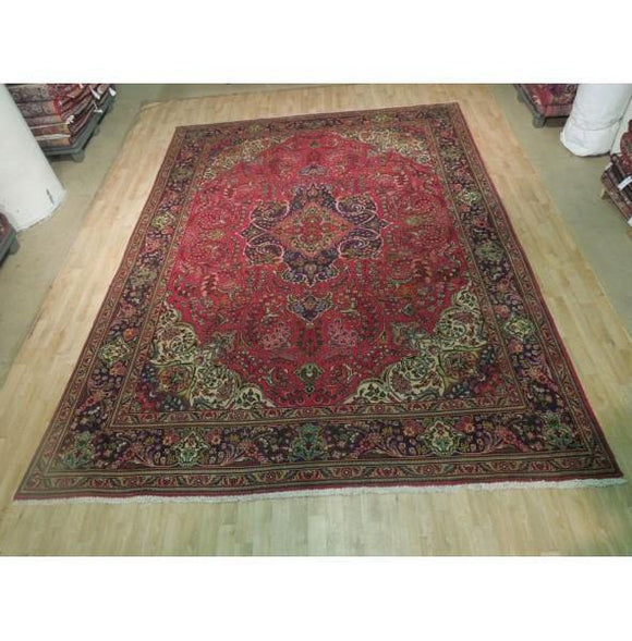 8x13 Authentic Hand Knotted Antique Worn Persian Sarouk Rug - Iran