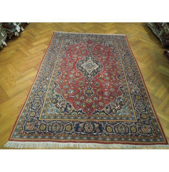 7x10 Authentic Hand Knotted Semi-Antique Persian Kashan Rug - Iran