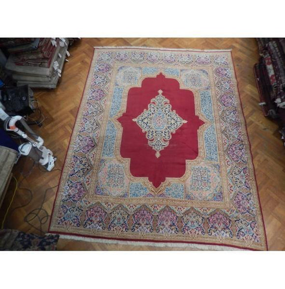 10x12 Authentic Hand Knotted Semi-Antique Persian Kerman Rug - Iran