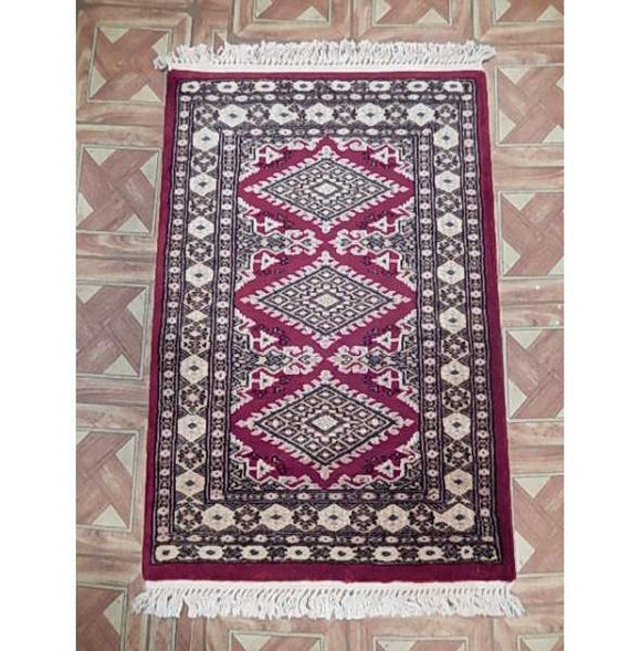 2x3 Authentic Hand Knotted Jaldar Bokhara Rug - Pakistan