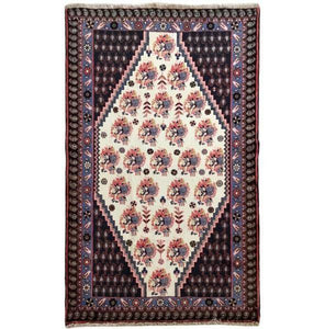 4x5 Authentic Hand-knotted Persian Hamadan Rug - Iran