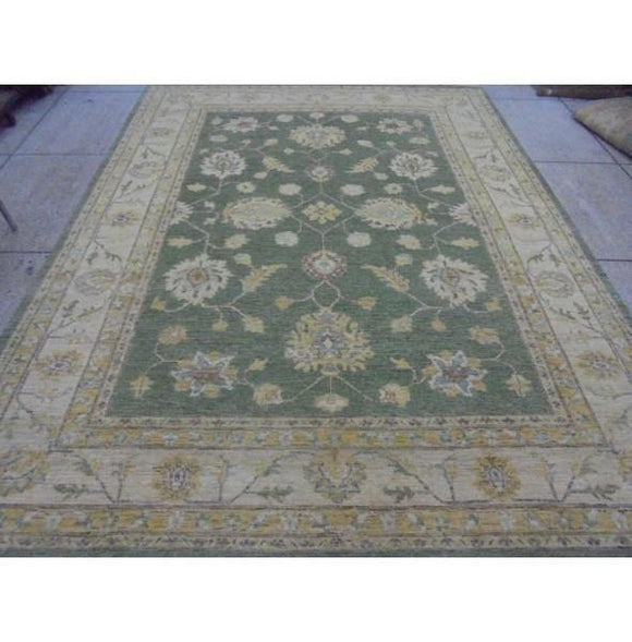 Radiant 11x9 Authentic Hand Knotted Vegetable Dyed Ziglar Chobi Peshawar Rug - Pakistan