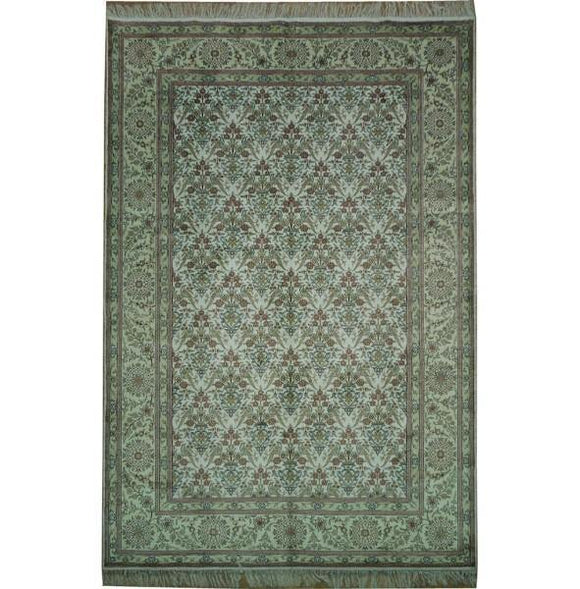 6x9 Authentic Handmade Kashmir Silk Rug - India